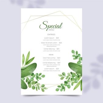 꽃 장식으로 가벼운 레스토랑 메뉴 템플릿