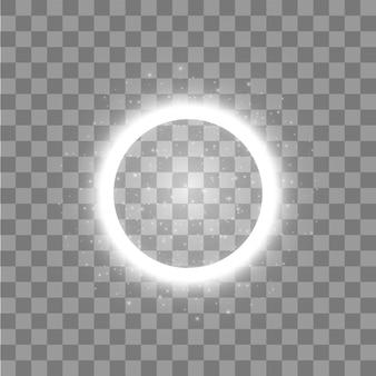 光リング。透明な背景にライトダストトレイル粒子と丸い光沢のあるフレーム。概念