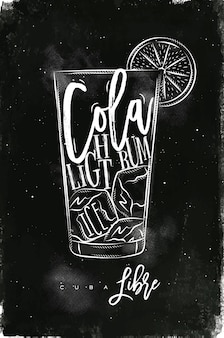 Light rum cocktail with lettering on chalkboard style