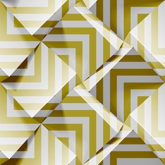 軽いシームレスな幾何学模様。金色の帯が付いたリアルな立方体。