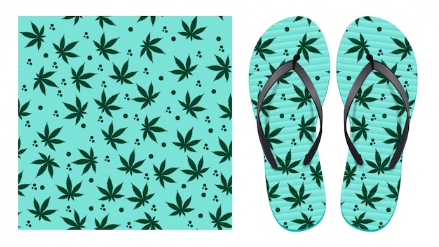 Light seamless pattern with cannabis leaves and abstract spots. pattern design for printing on flip-flops.