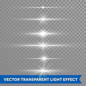 Light shine effect or starlight lens flare vector isolated icons transparent