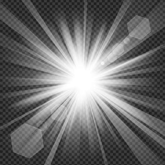 透明な背景にレンズフレアがある光が輝きます