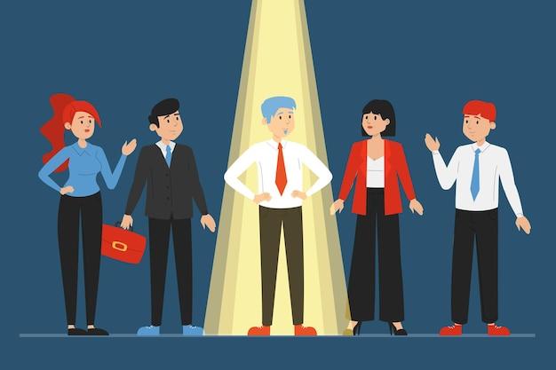 Свет сияет на подходящем кандидате на работу
