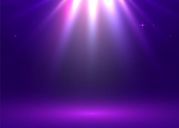 ライトショー。スタジオテーブルルーム。コピースペース付きの製品展示。 webバナーの背景。ベクトルイラスト