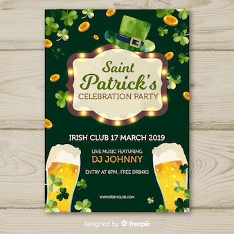 Light sign st patrick's party poster