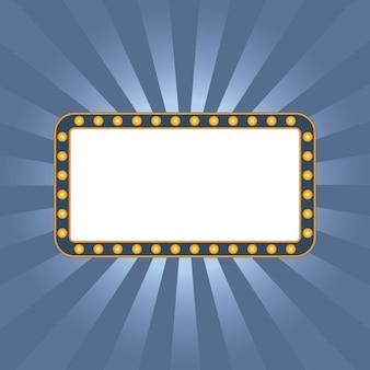 Light signboard on blue sunburst with vintage frame illuminated sign shining retro signage