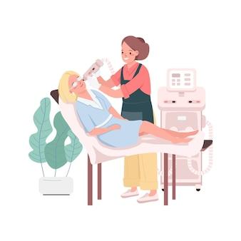 Световая терапия кожи плоских цветных подробных персонажей. процедуры по уходу за лицом. работник салона красоты и клиент изолированные иллюстрации шаржа для веб-графического дизайна и анимации