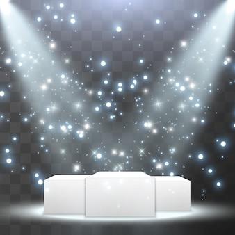 Источники света, концертное освещение, прожекторы на подиуме. эффект свечения.