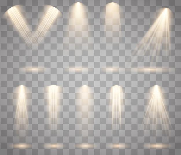 광원, 콘서트 조명, 무대 스포트라이트 설정 빔, 조명 스포트라이트, 금광 및 빔으로 빛나는 조명 효과가있는 콘서트 스포트라이트