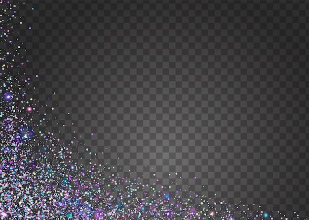 빛 반짝입니다. 크리스탈 색종이 조각. 핑크 복고풍 배경입니다. 레이저 크리스마스 그림입니다. 무지개 빛깔의 질감. 축제 호일. 판타지 아트. 디스코 프리즘. 블루 라이트 반짝임 프리미엄 벡터