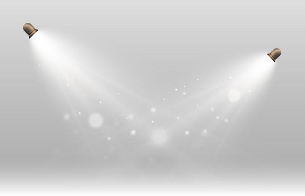 연극 및 엔터테인먼트 프레젠테이션 벡터 일러스트레이션을 위한 조명 스포트라이트