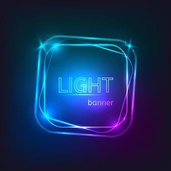 Светлый квадратный баннер. квадратная рамка со светящимися и огнями