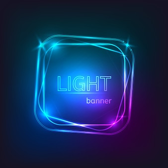 Light square banner. square frame with glowing and lights