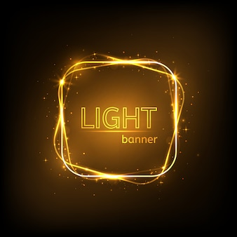 Light square frame. gold luxury banner isolated
