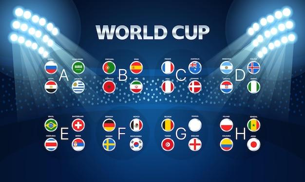 Light stadium mast  illustration. world cup groups layout