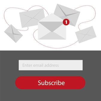 Light subscribe to newsletter form with button in red,grey and whitte colors - email send concept vector