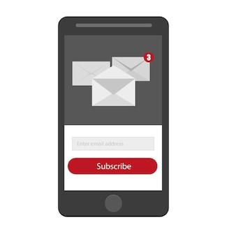 빨간색, 회색 및 흰색 색상의 버튼이 있는 뉴스레터 양식 구독 라이트 - 이메일 보내기 개념 벡터 - 모바일 버전 ui ux