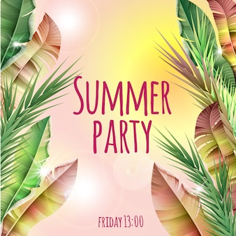 Light summer party tropical botanical template