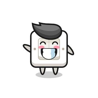 Light switch cartoon character doing wave hand gesture , cute style design for t shirt, sticker, logo element
