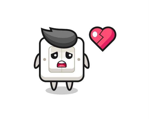 Выключатель света мультфильм иллюстрация разбитое сердце, милый стиль дизайн для футболки, стикер, элемент логотипа