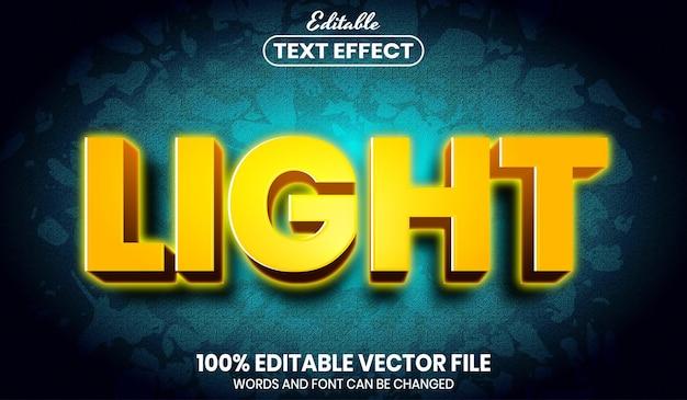 Light text, font style editable text effect