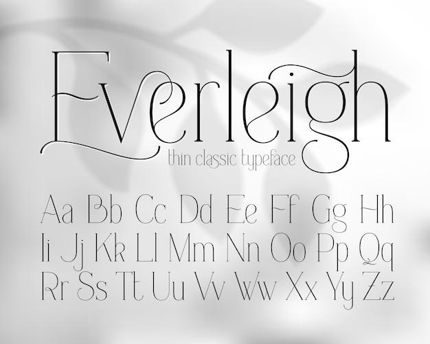 Легкий тонкий набор шрифтов