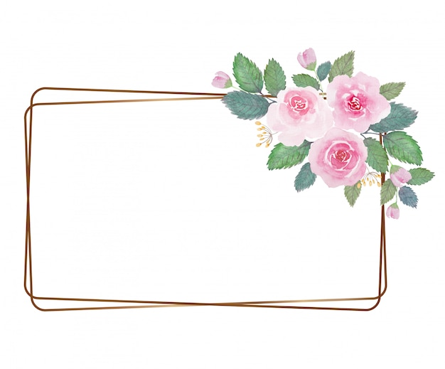 Light tone lovely watercolor flower with thin golden frame over white background