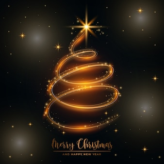 Light trail christmas tree illustration