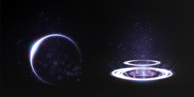 Световой шлейф от ринга подсветка подиума для рекламной продукции.