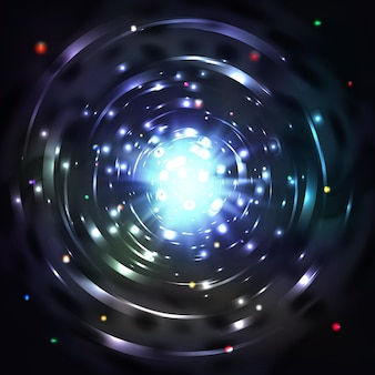 Light tunnel or light whirl vortex . whirl glowing tunnel and motion vortex in cosmic tunnel