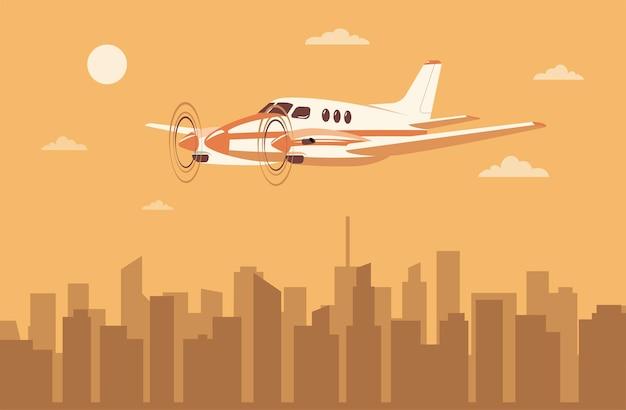 市内の軽量ツインエンジンターボプロップ航空機。ベクトルイラスト。