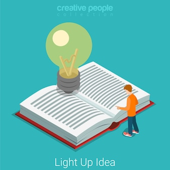 Light up bright idea flat isometric business education knowledge startup concept  micro man reading big book light bulb.