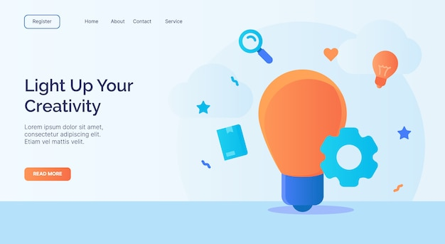 Light up your creativity bulb icon campaign for web website home page landing template with cartoon style.