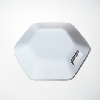 Light usb hub device concept of hexagonal structure and several ports on white  isolated