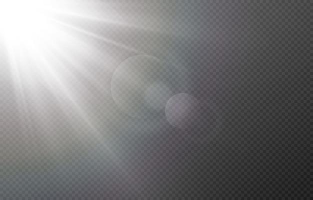 まぶしさのある光。太陽、太陽光線、夜明け、太陽からのまぶしさ