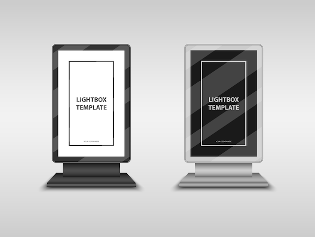 Lightbox, city format billboard, totem sign mockup template