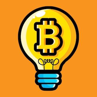Bitcoin 기호로 전구 디자인