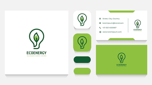Lightbulb and eco energy logo template and business card