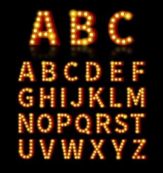 Шрифт лампочки. текст и знак, яркая лампочка, дизайн алфавита.