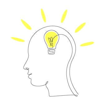 Lightbulb in head in one single line drawing for logo, emblem, web banner, presentation. continuous lineart concept of idea. simple vector illustration