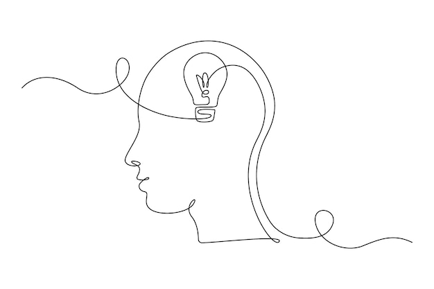 Lightbulb in head in one single line drawing for logo, emblem, web banner, presentation. simple creative idea and imagine concept. vector illustration