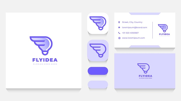 Lightbulb idea wings logo template and business card