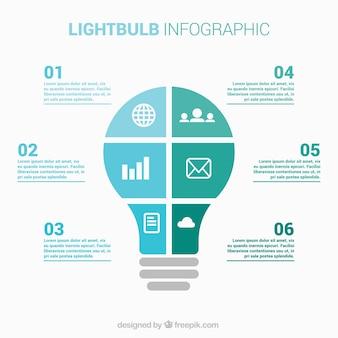 Лампочки инфографики в плоском стиле