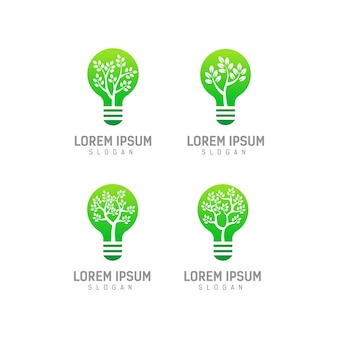Lightbulb logo template with the concept of leaves and trees inside, light bulb logo design