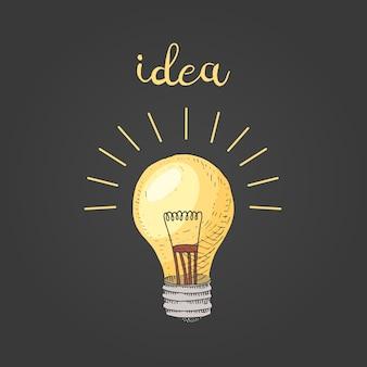 電球やアイデア。古いスケッチとヴィンテージのシンボルで描かれた刻まれた手。学校の要素に戻る。