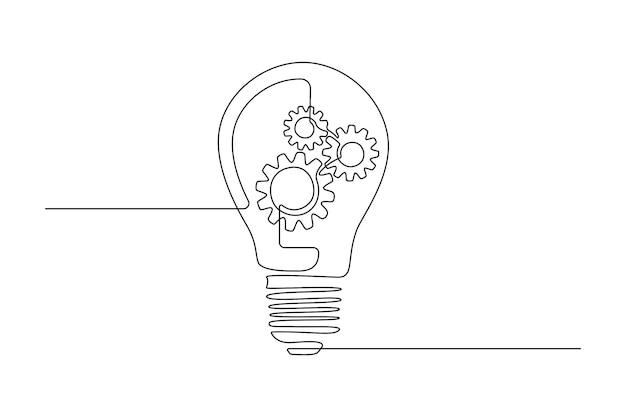 로고, 엠블럼, 웹 배너, 프레젠테이션을 위한 단일 선 그리기에 기어 휠이 있는 전구. 간단한 창의적 혁신 개념입니다. 벡터 일러스트 레이 션