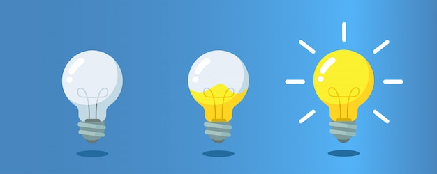 Lightbulb with liquid inside steps to creativity, concept of get ideas.