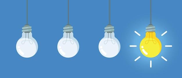 Lightbulb with liquid inside steps to creativity