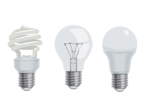 전구 및 램프, 만화 아이콘입니다. 절연 전기 주도 및 백열등